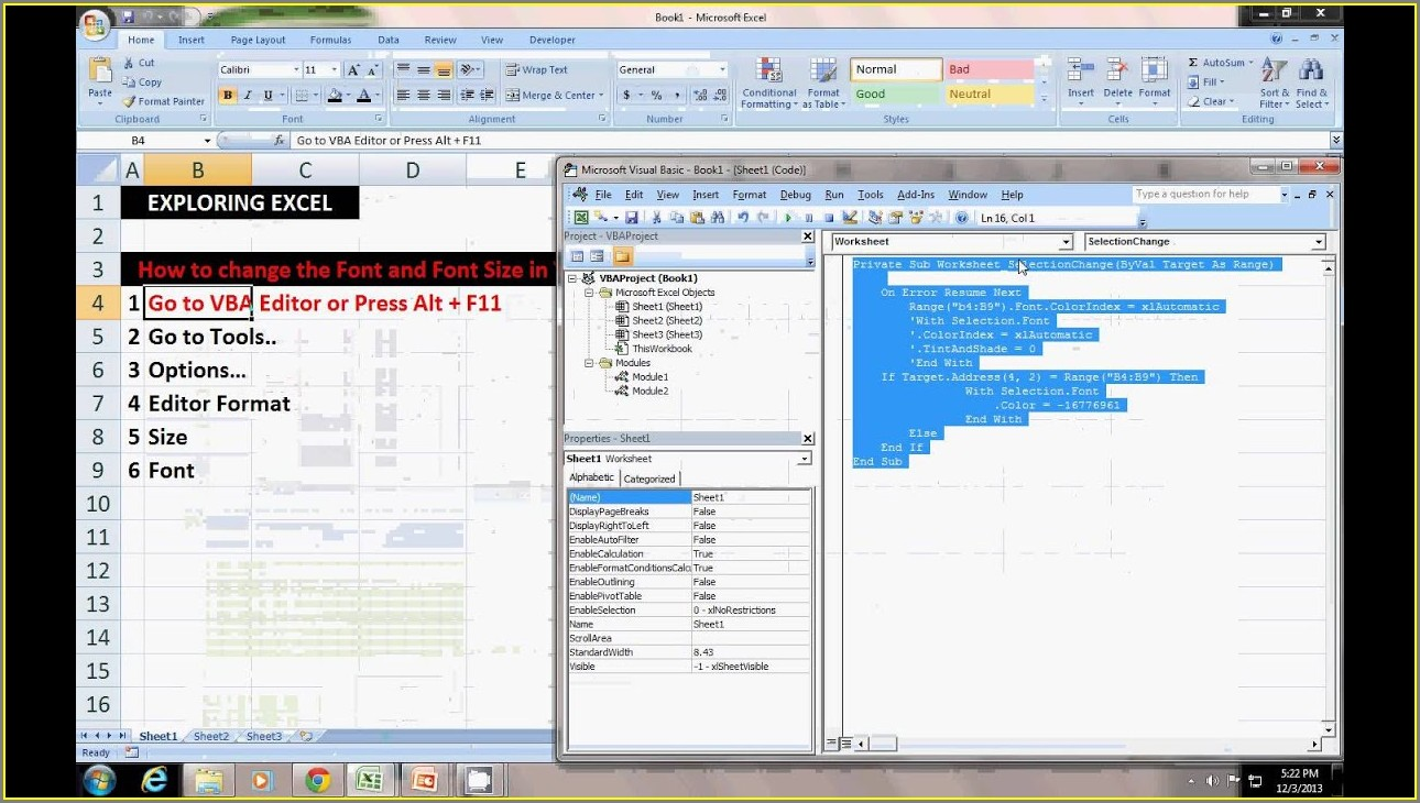 Excel Vba Worksheet Font Size
