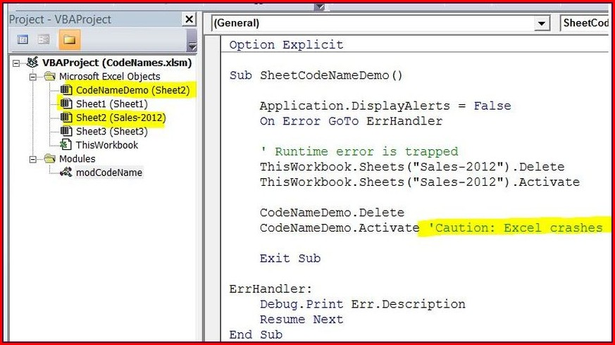 Excel Vba Worksheet Name Vs Codename