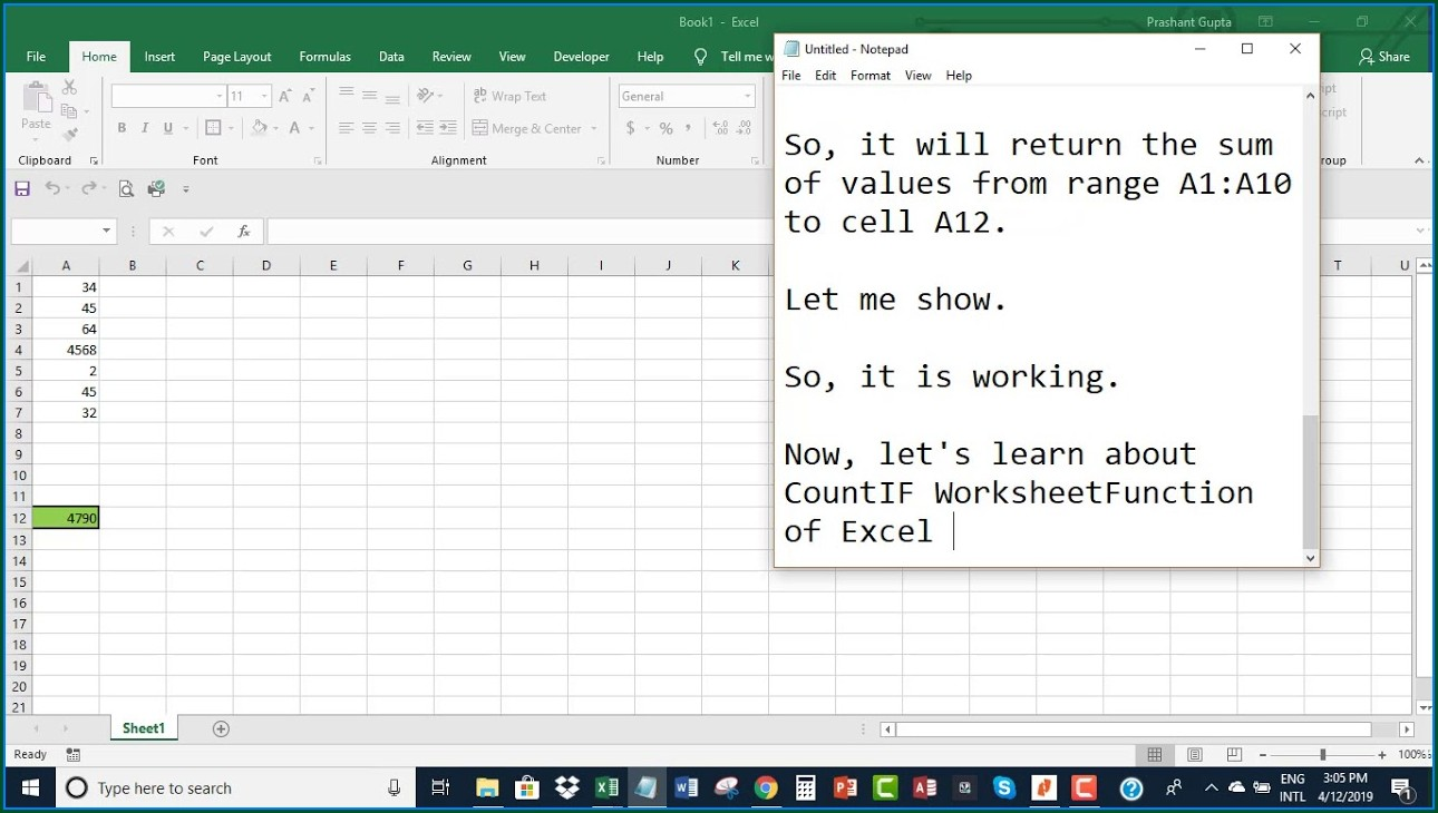 Excel Vba Worksheetfunction Object