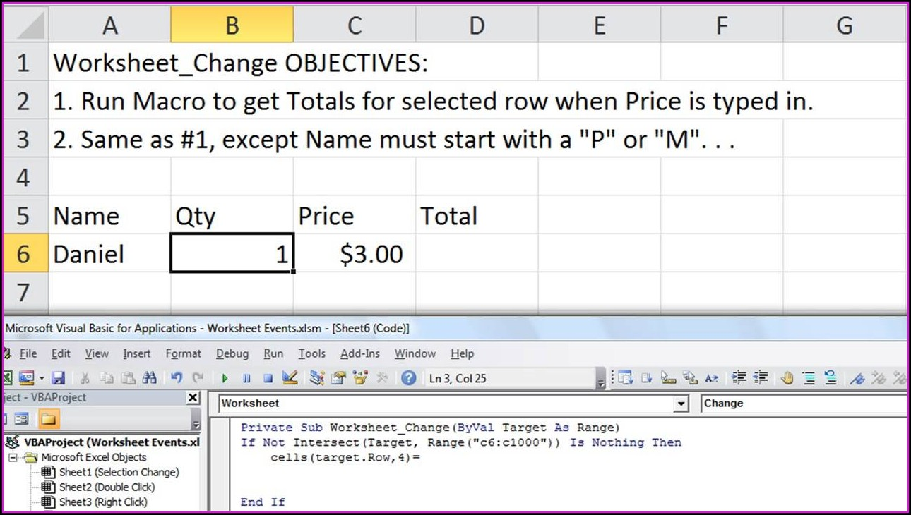 Excel Worksheet Change Event Multiple Cells