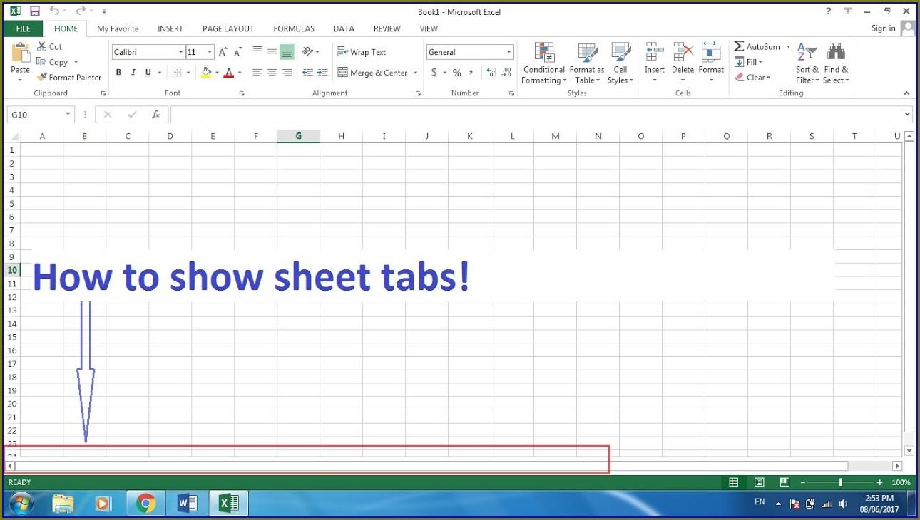 Excel Worksheet Not Showing Tabs