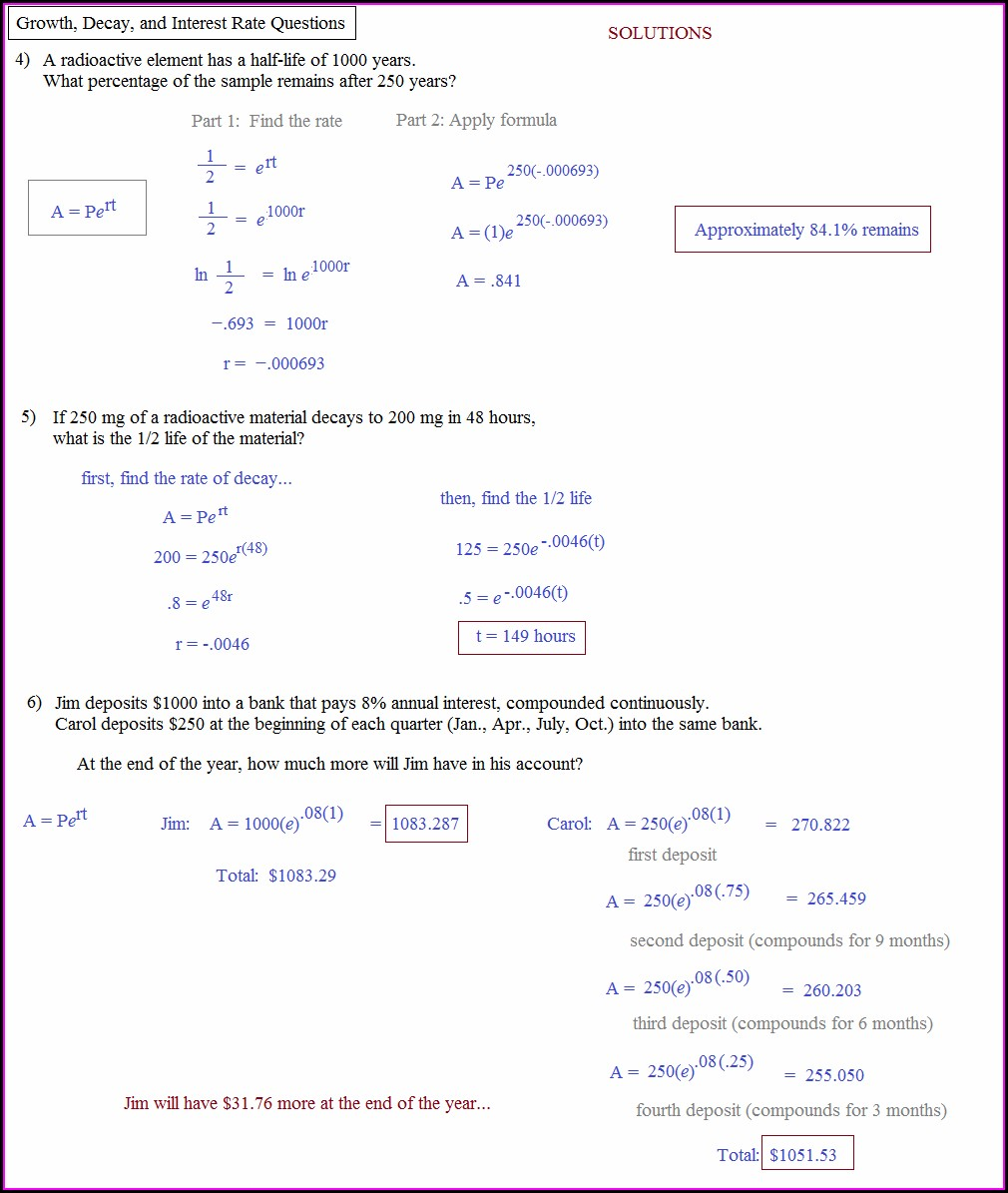 Exponential Word Problems Worksheet With Answers Pdf