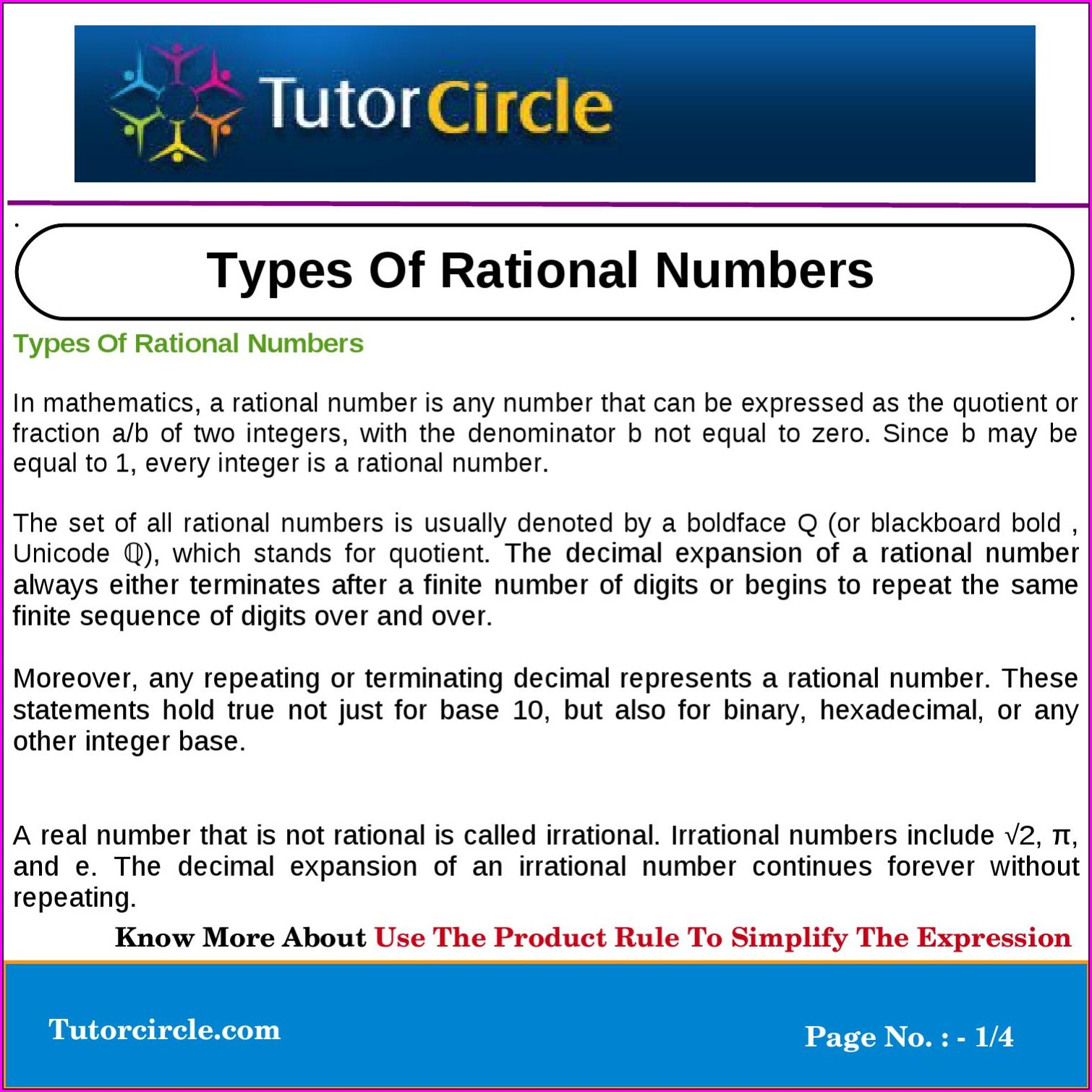 Expressing Rational Numbers With Decimal Expansions Worksheet