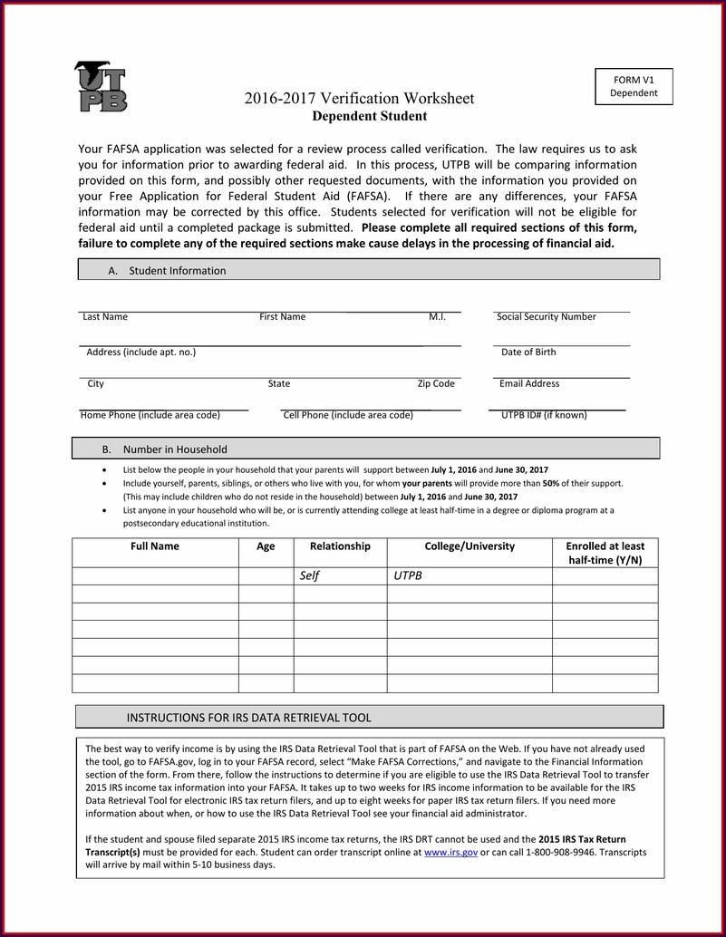 Fafsa Income Verification Worksheet