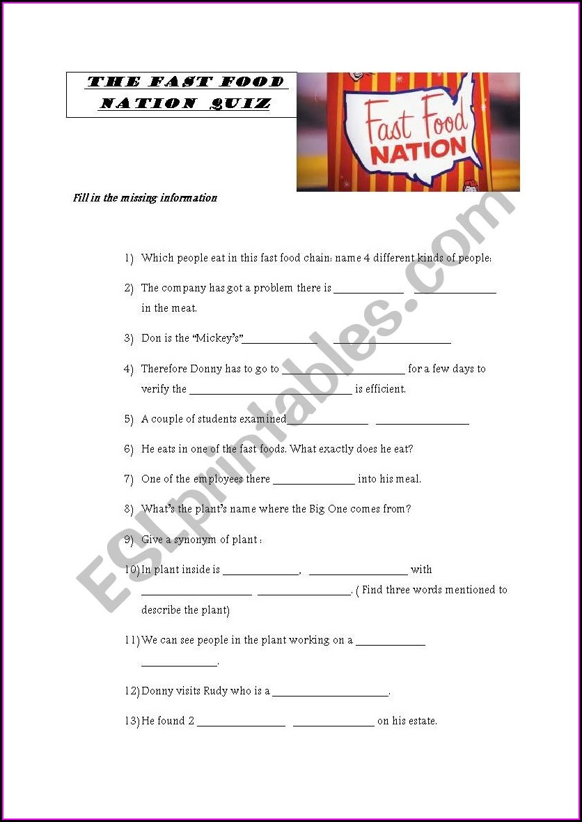 Fast Food Nation Worksheet