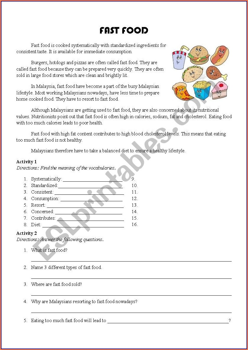 Fast Food Nutrition Worksheet Answers
