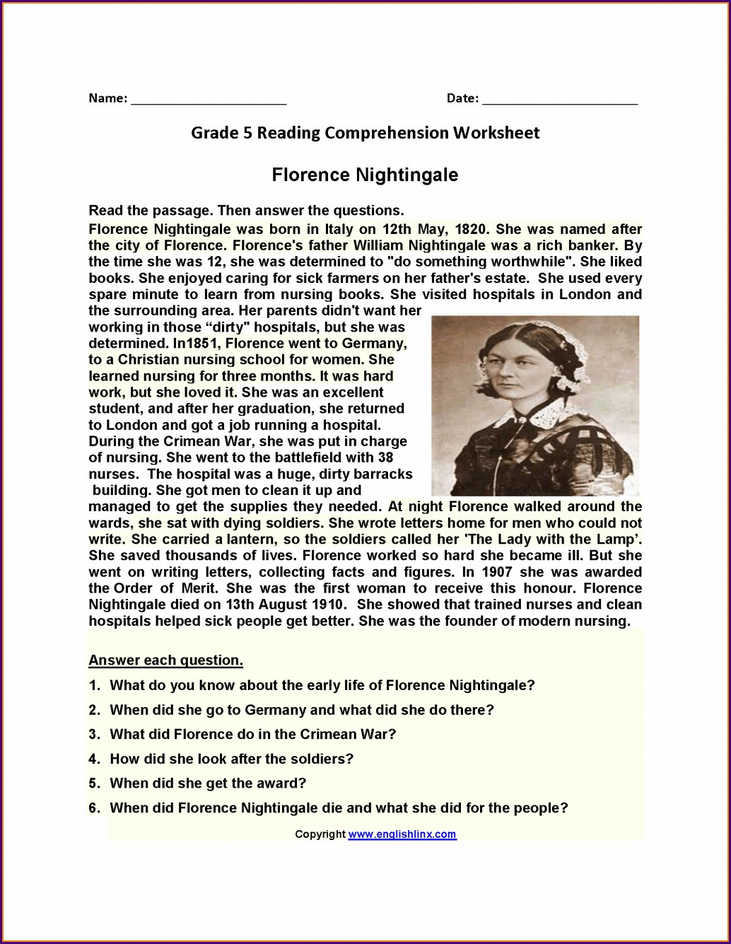 Fifth Grade 5th Grade Comprehension Worksheets