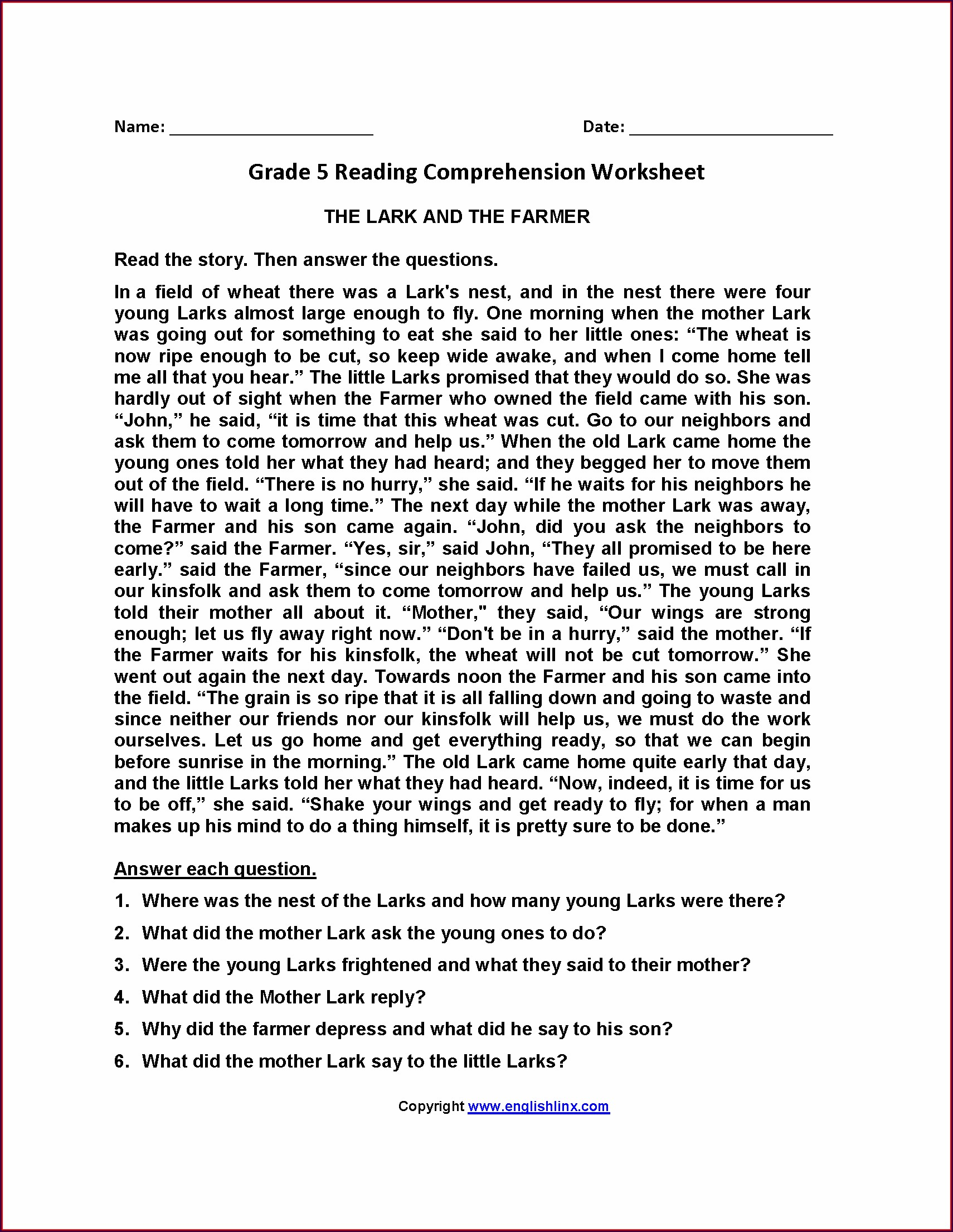 Fifth Grade Comprehension Worksheet For Grade 5