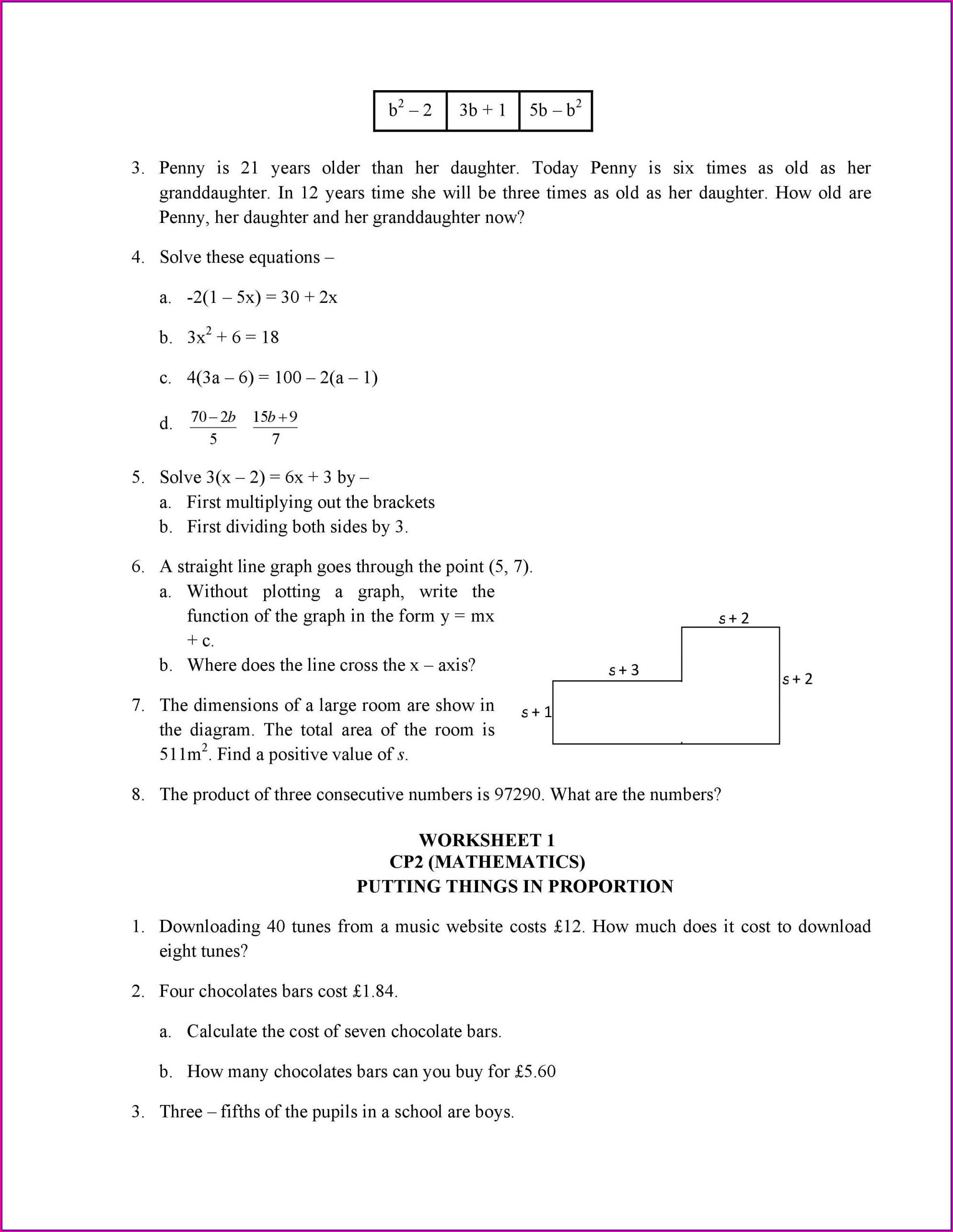 Fifth Grade Math Area Worksheets