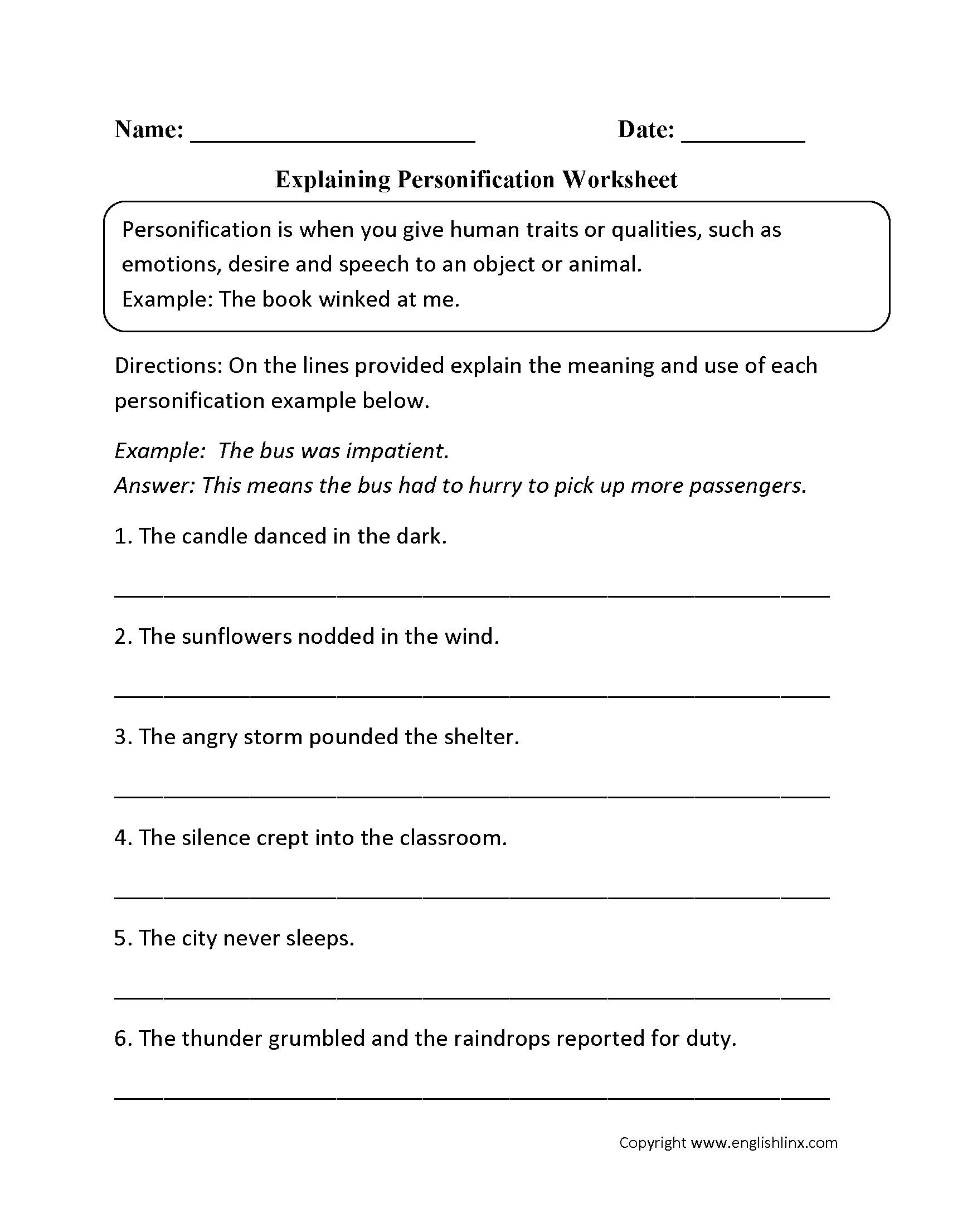 Figurative Language Worksheets Grade 4