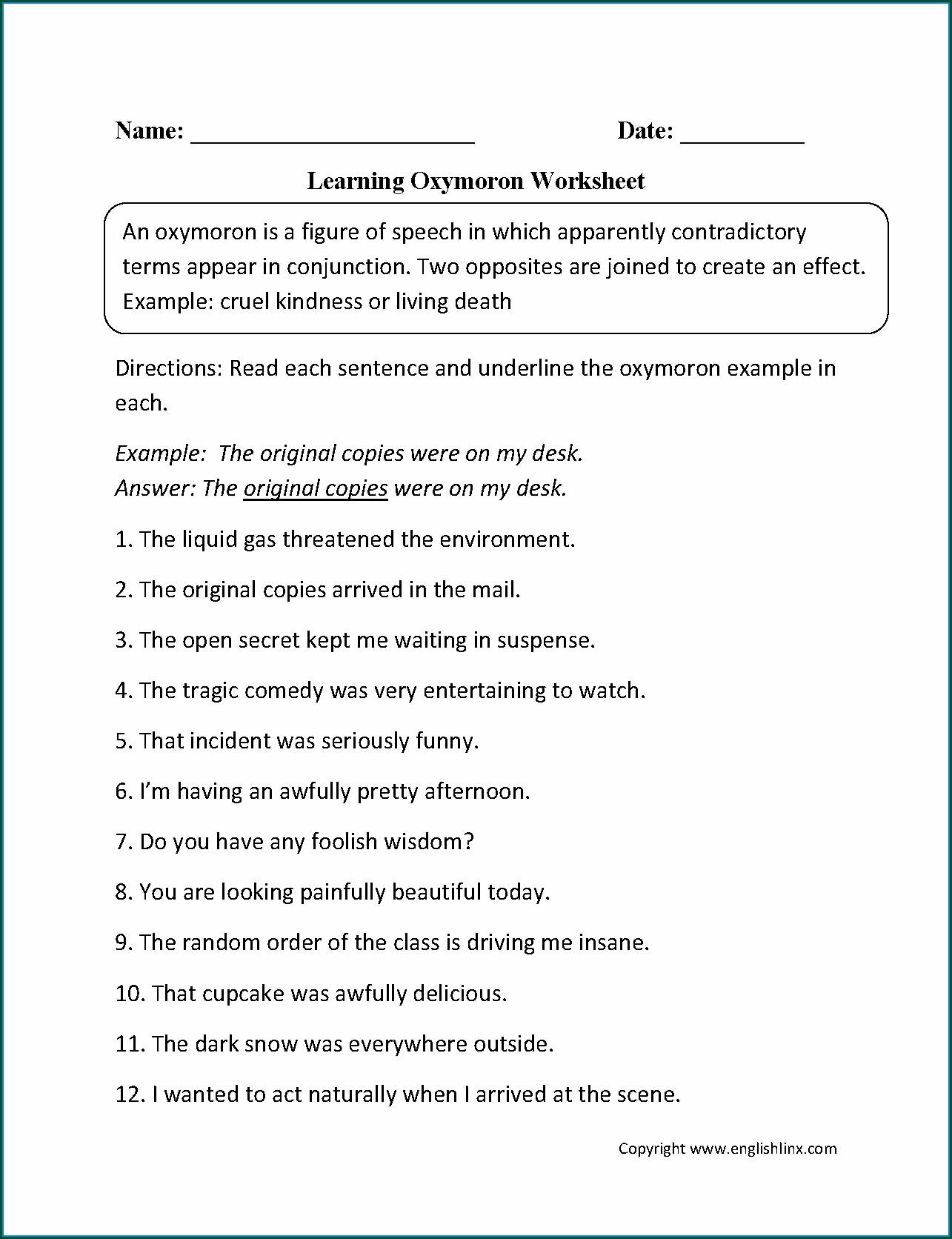 Figurative Language Worksheets Grade 6
