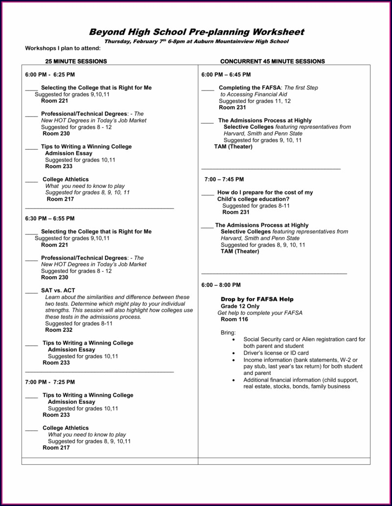 Financial Aid Planning Worksheet