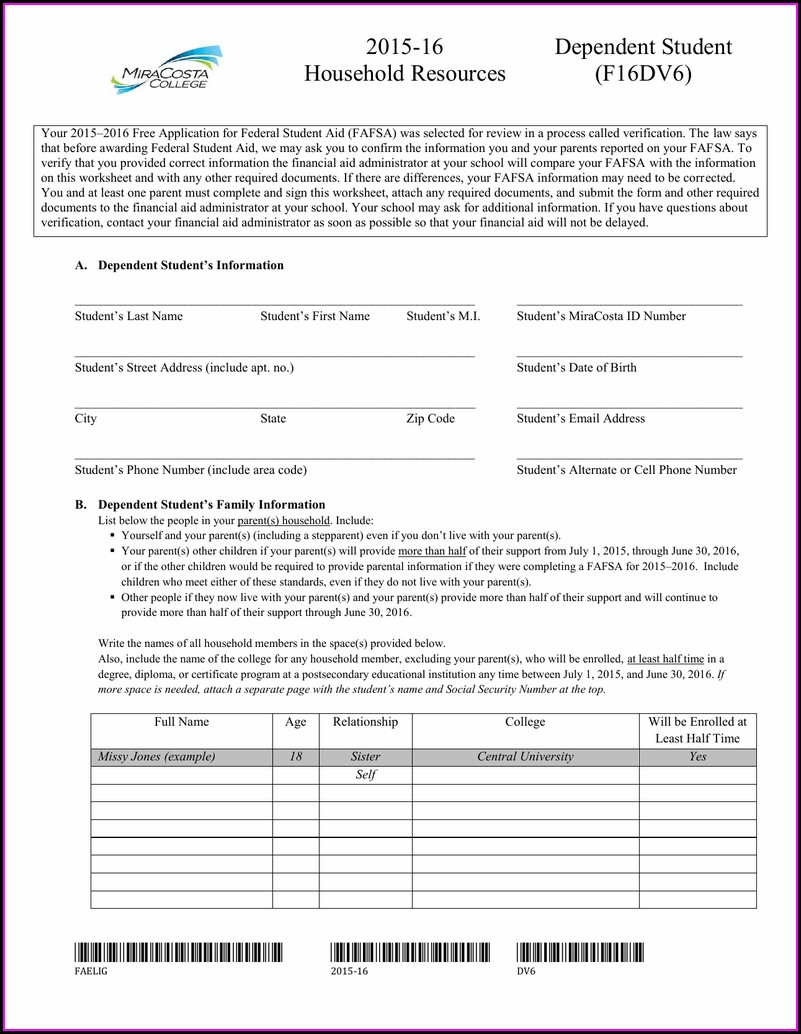 Financial Aid Verification Worksheet 2015