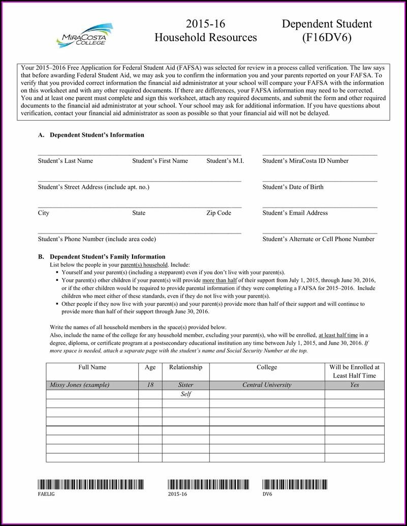 Financial Aid Verification Worksheet 2015