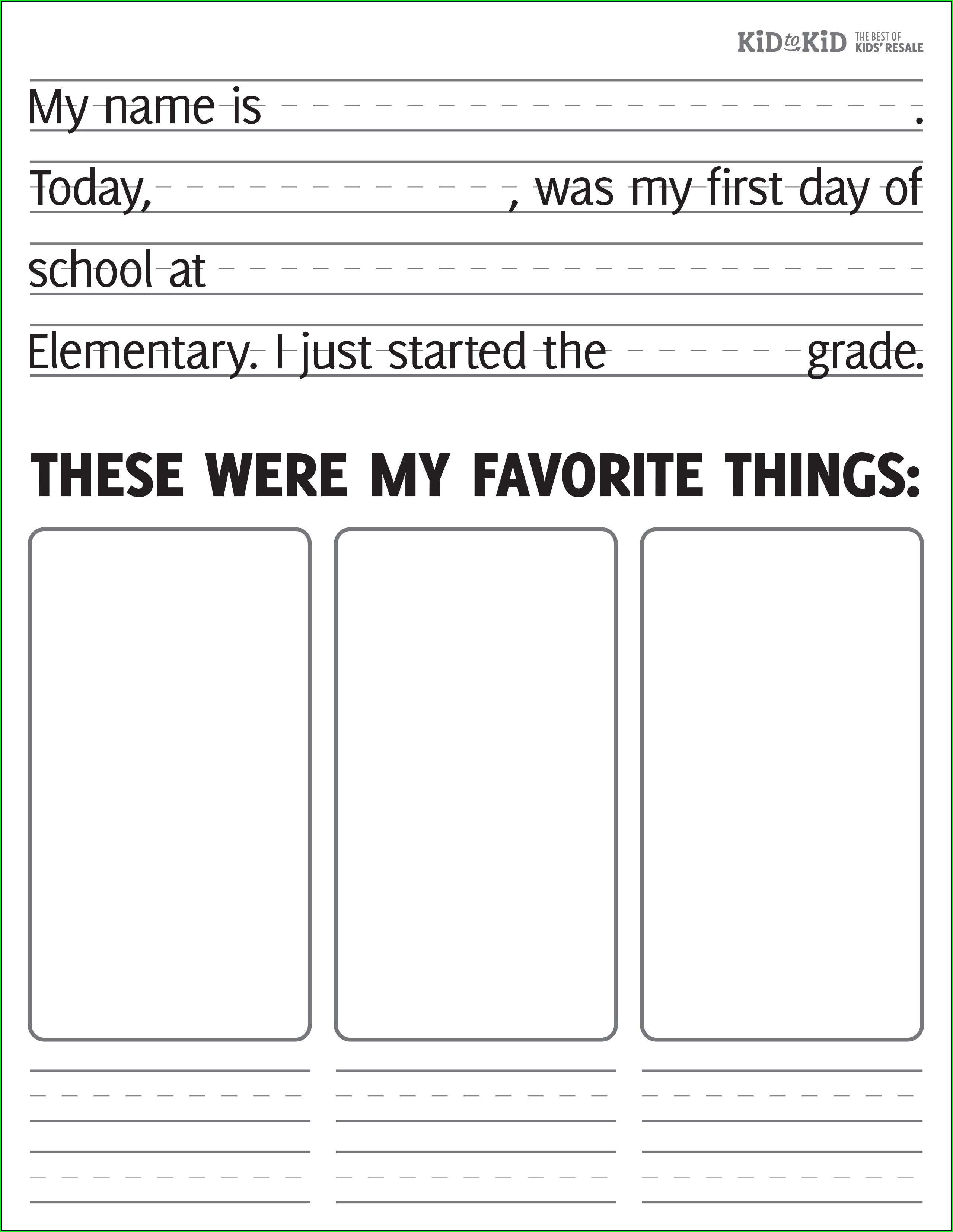 First Day Of School Worksheet For Kindergarten