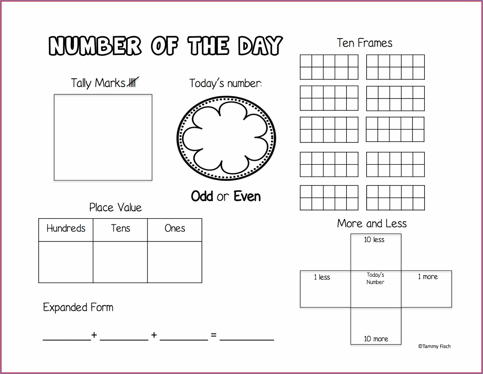 First Grade 1st Grade Number Of The Day Worksheet