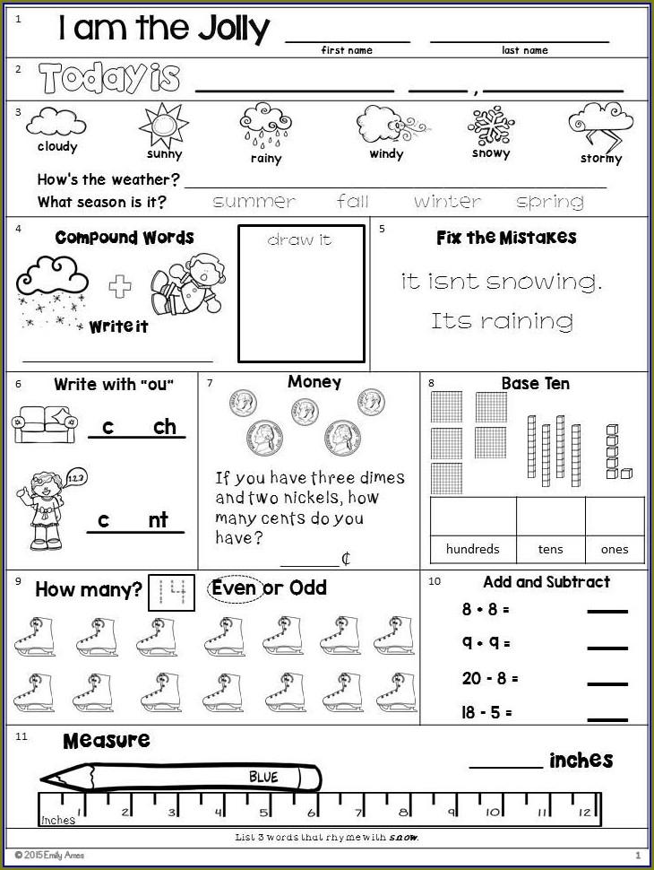 First Grade Bellwork Worksheets