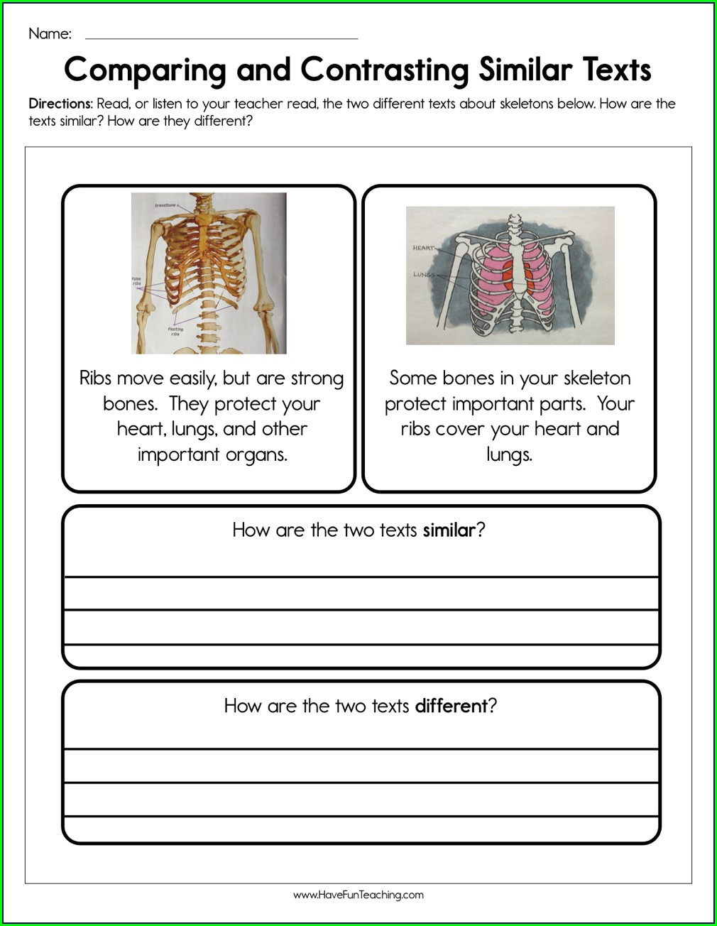 First Grade Compare And Contrast Worksheets