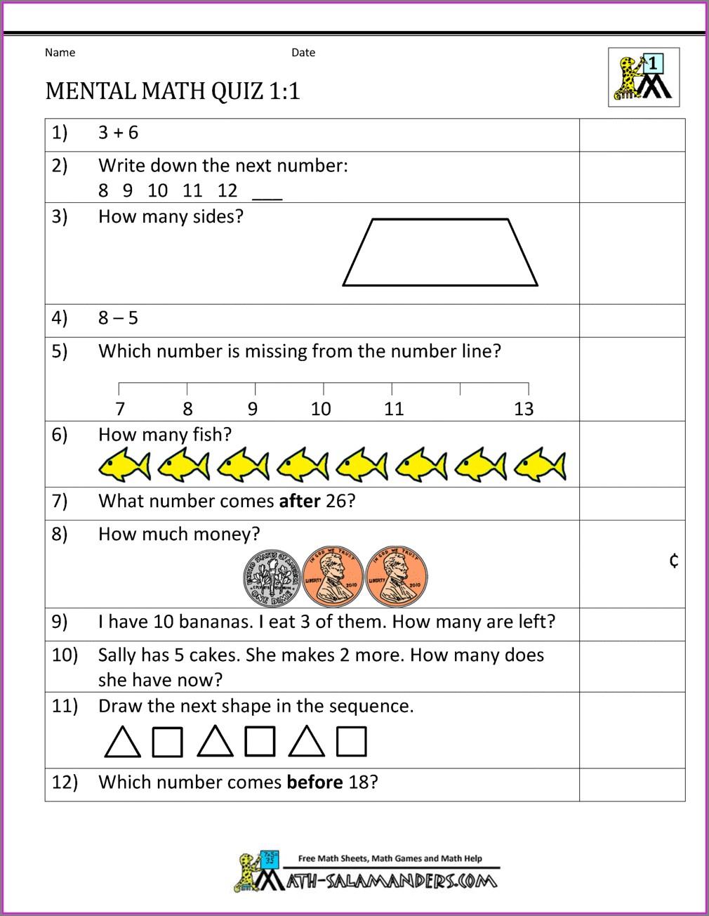 First Grade Grade 1 Assessment Test Worksheets