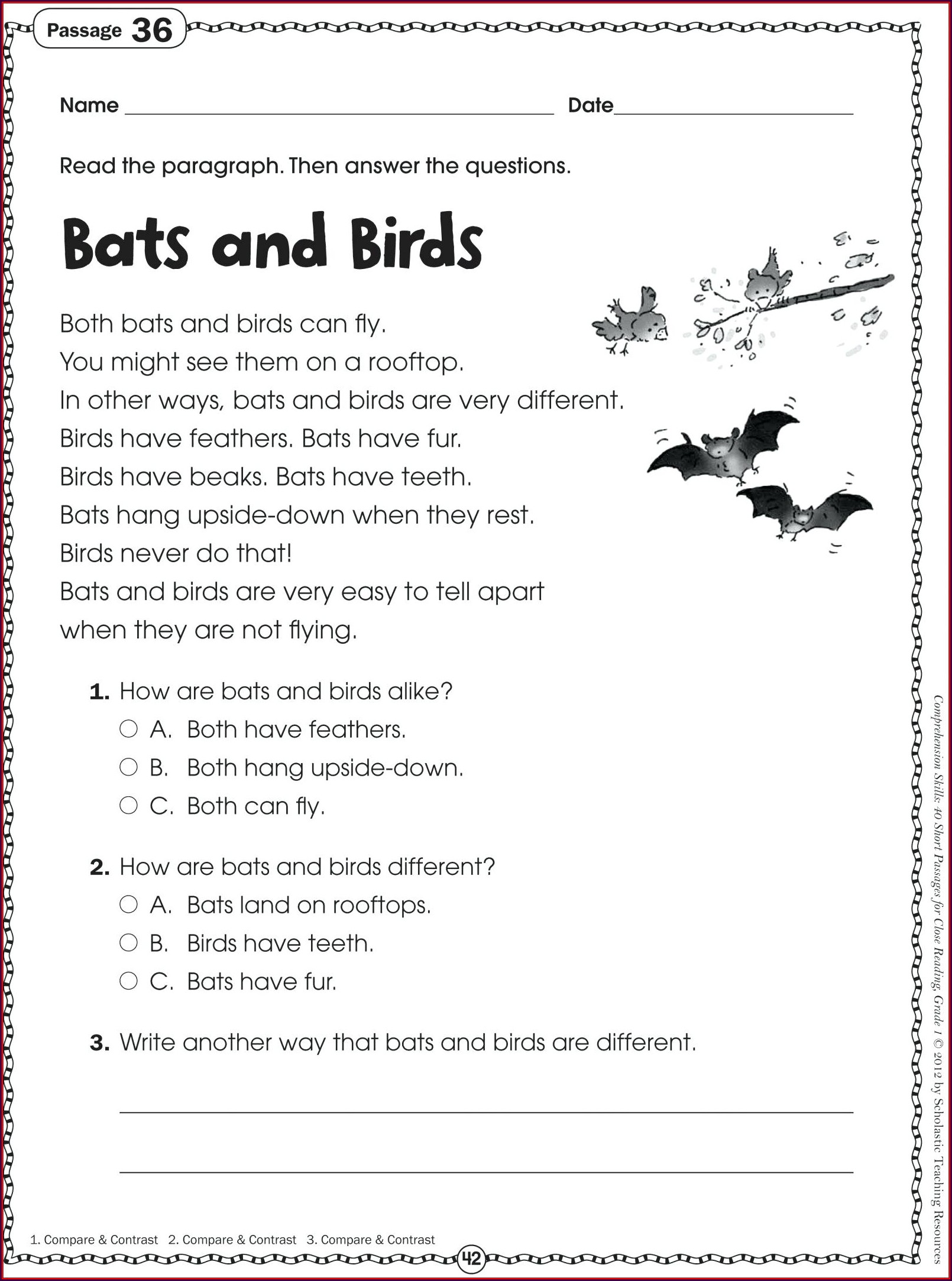 First Grade Grade One English Worksheets