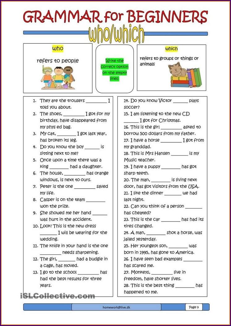 First Grade Grammar Worksheets For Grade 1