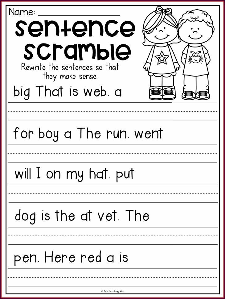 First Grade Kindergarten Worksheets