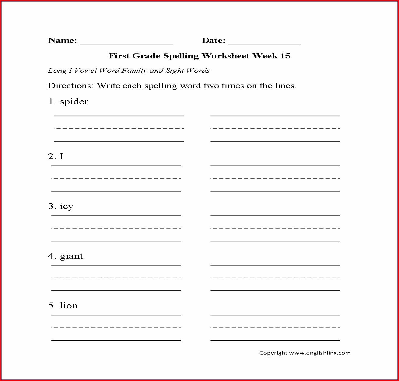 First Grade Long Vowel I Worksheets