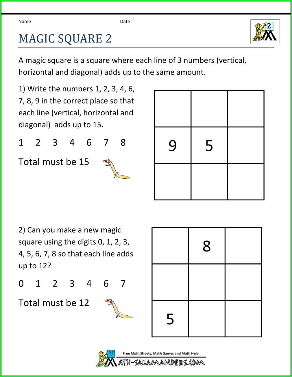 First Grade Math Logic Worksheets