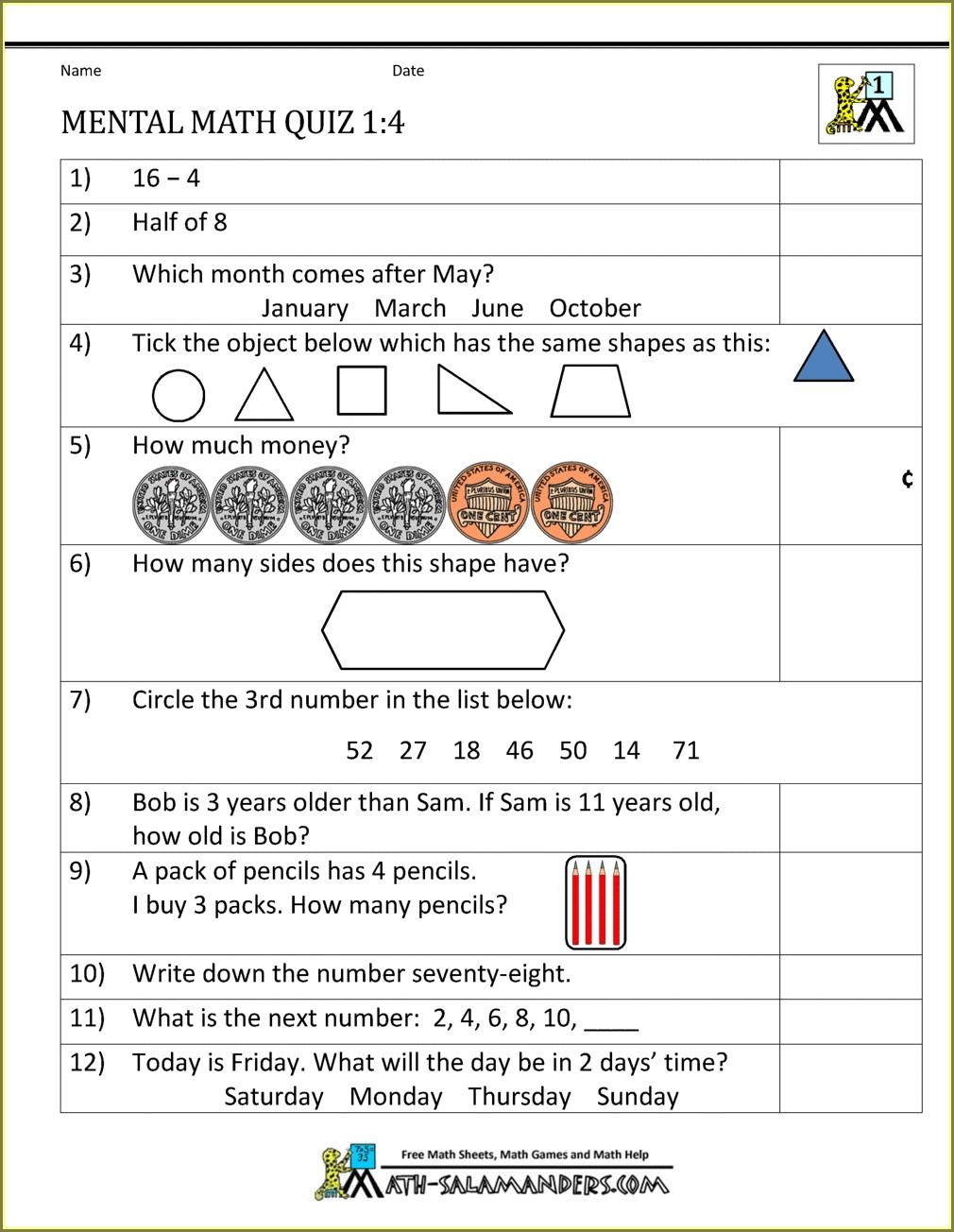 First Grade Multiplication Worksheet For Class 1