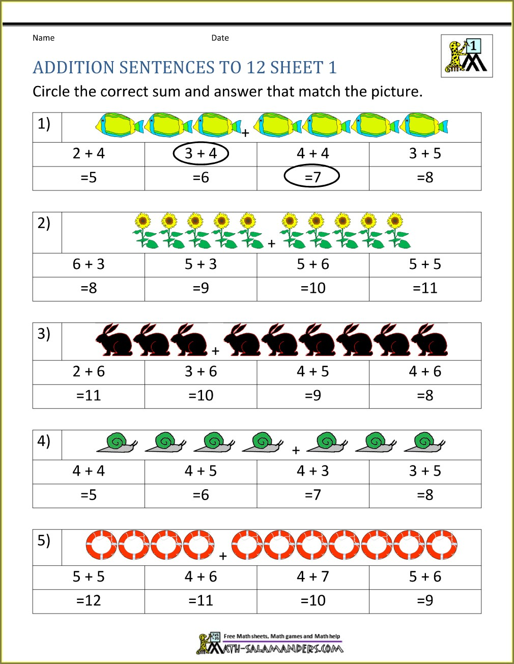 First Grade Multiplication Worksheets For Grade 1 With Pictures