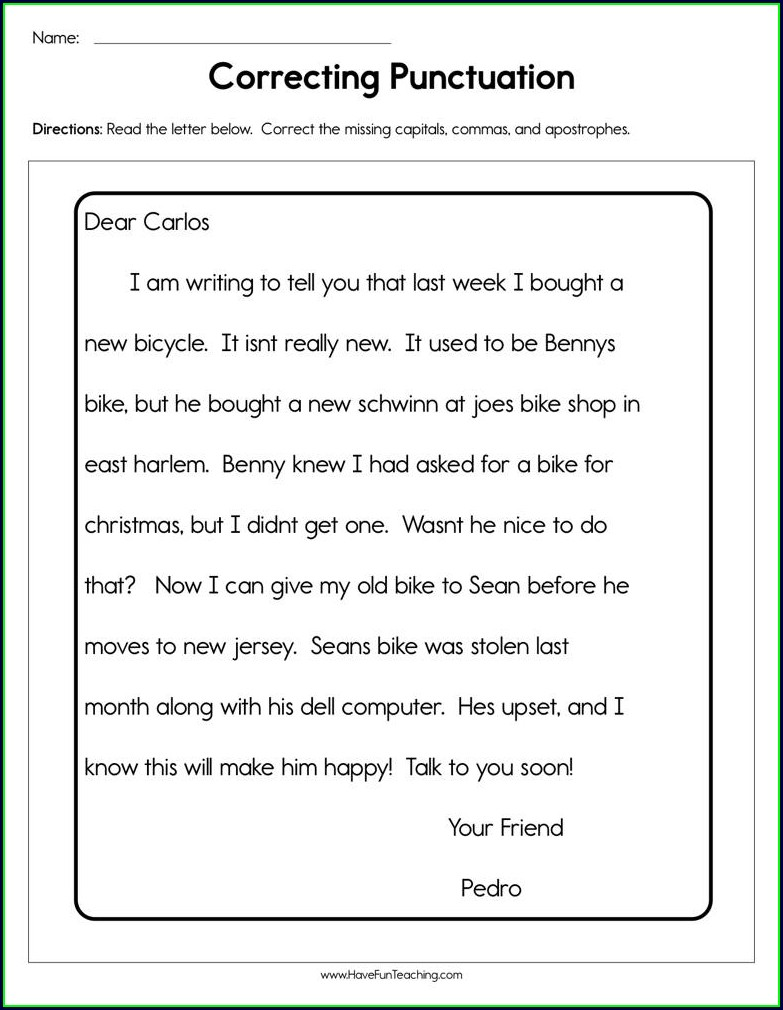 First Grade Punctuation Story Worksheets