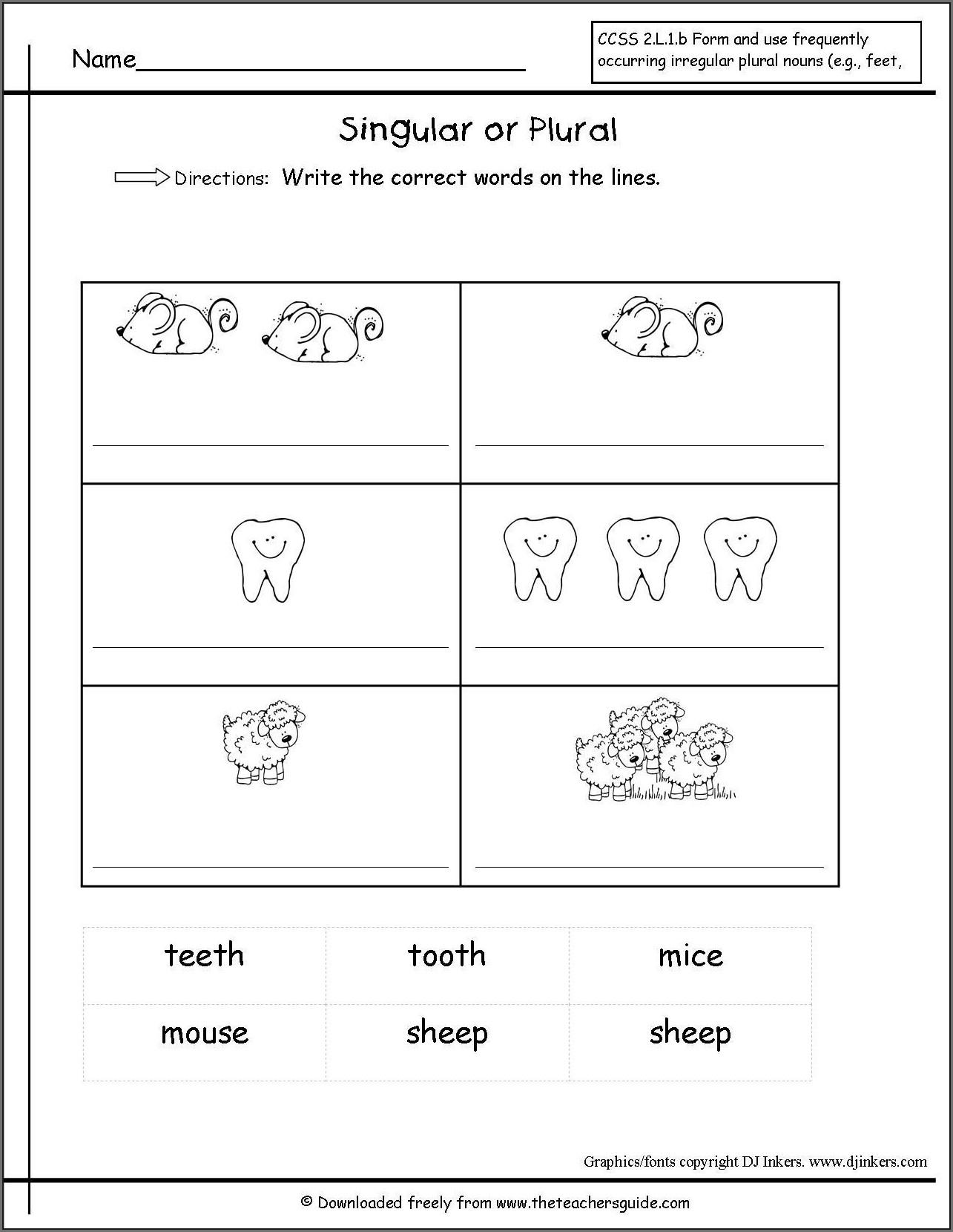 First Grade Singular And Plural Nouns Worksheet