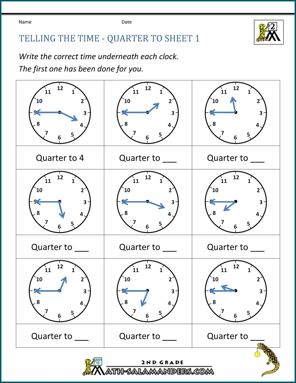 First Grade Telling Time To The Minute Worksheets