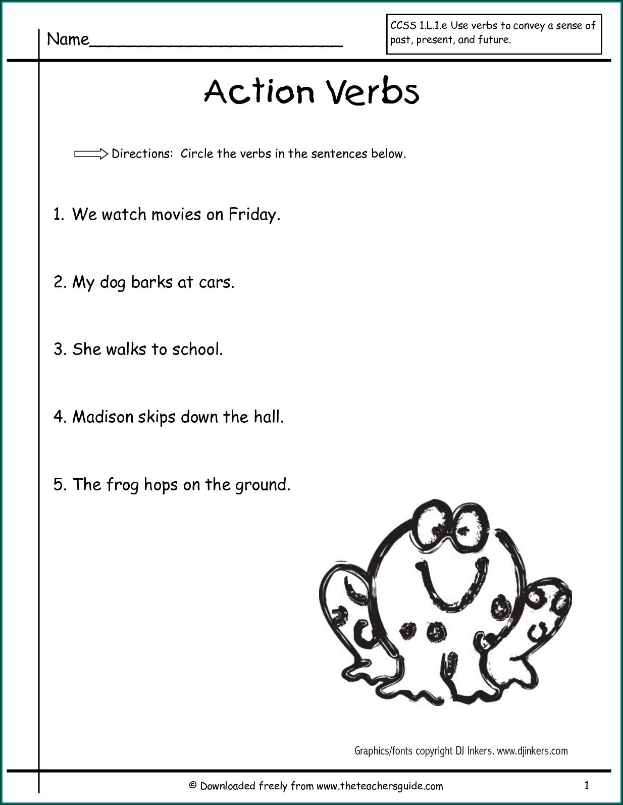 First Grade Verbs Worksheets For Grade 1