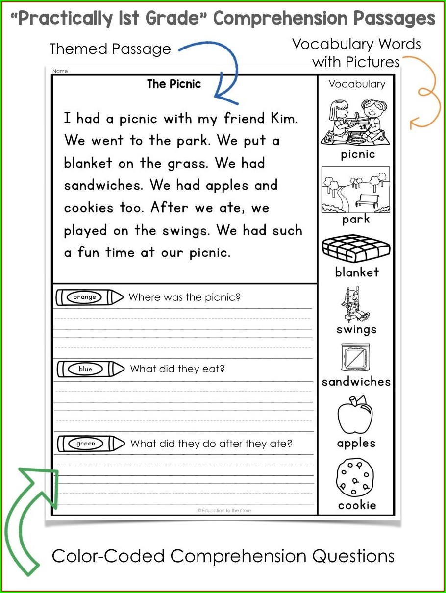 First Grade Vocabulary Worksheets Free