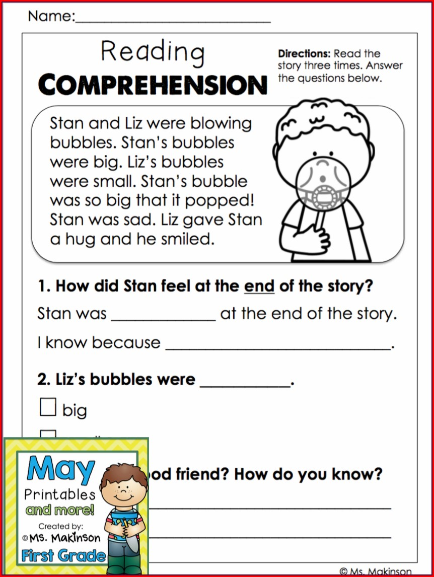 First Grade Vocabulary Worksheets