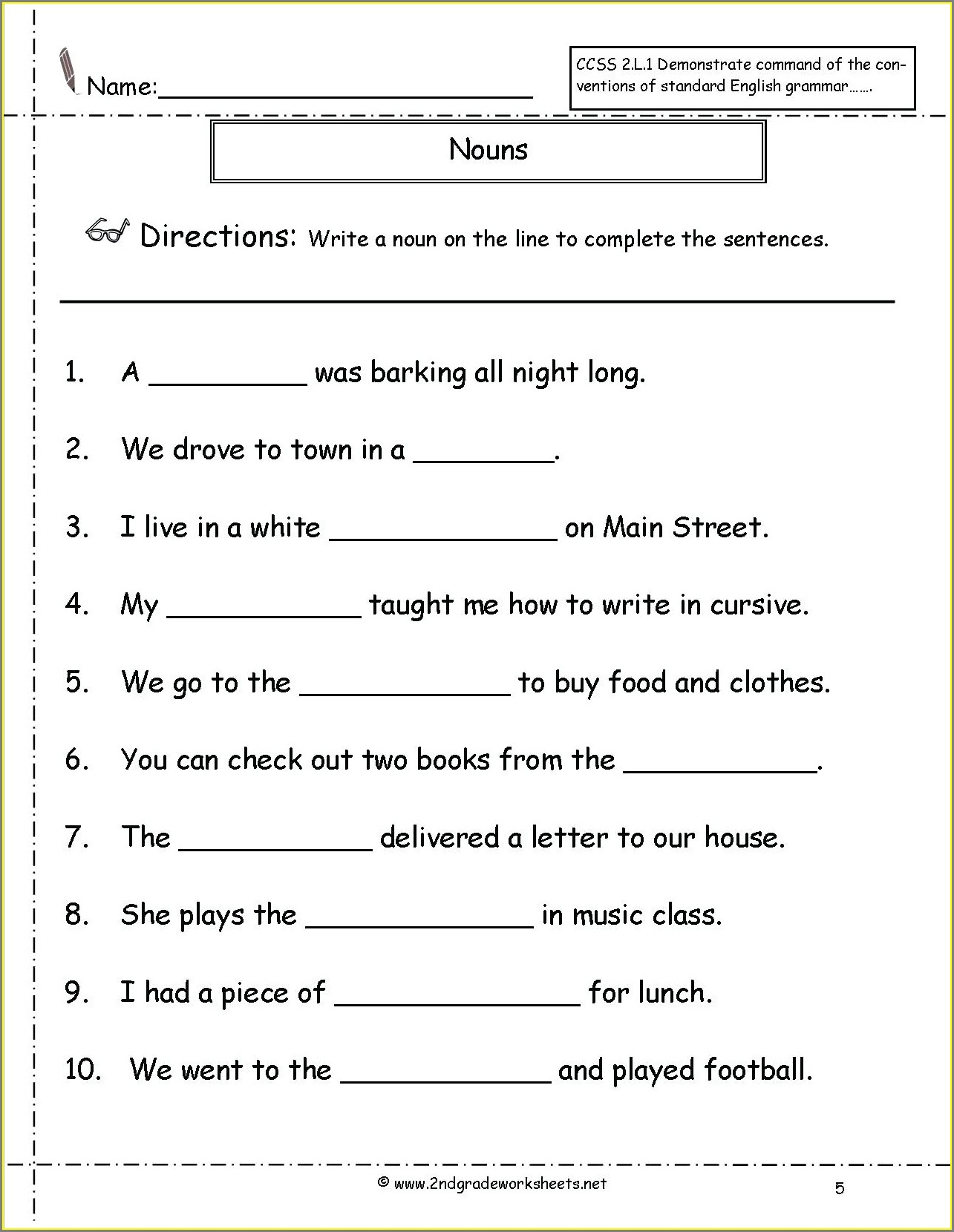 First Grade Worksheet Nouns For Grade 1