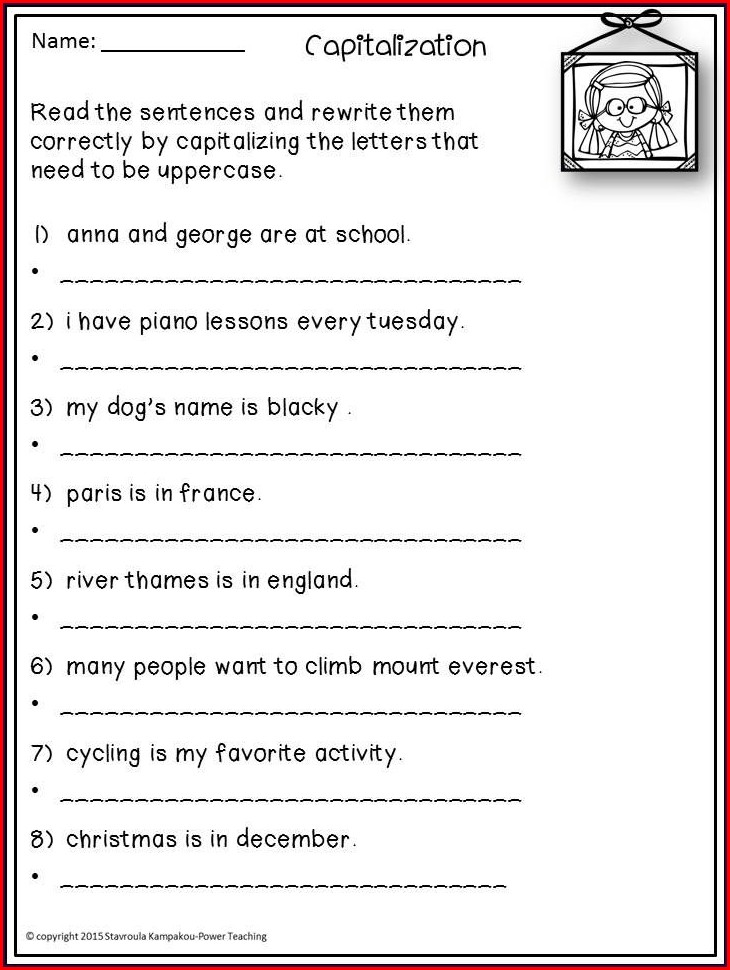 First Grade Worksheets For Punctuation And Capitalization