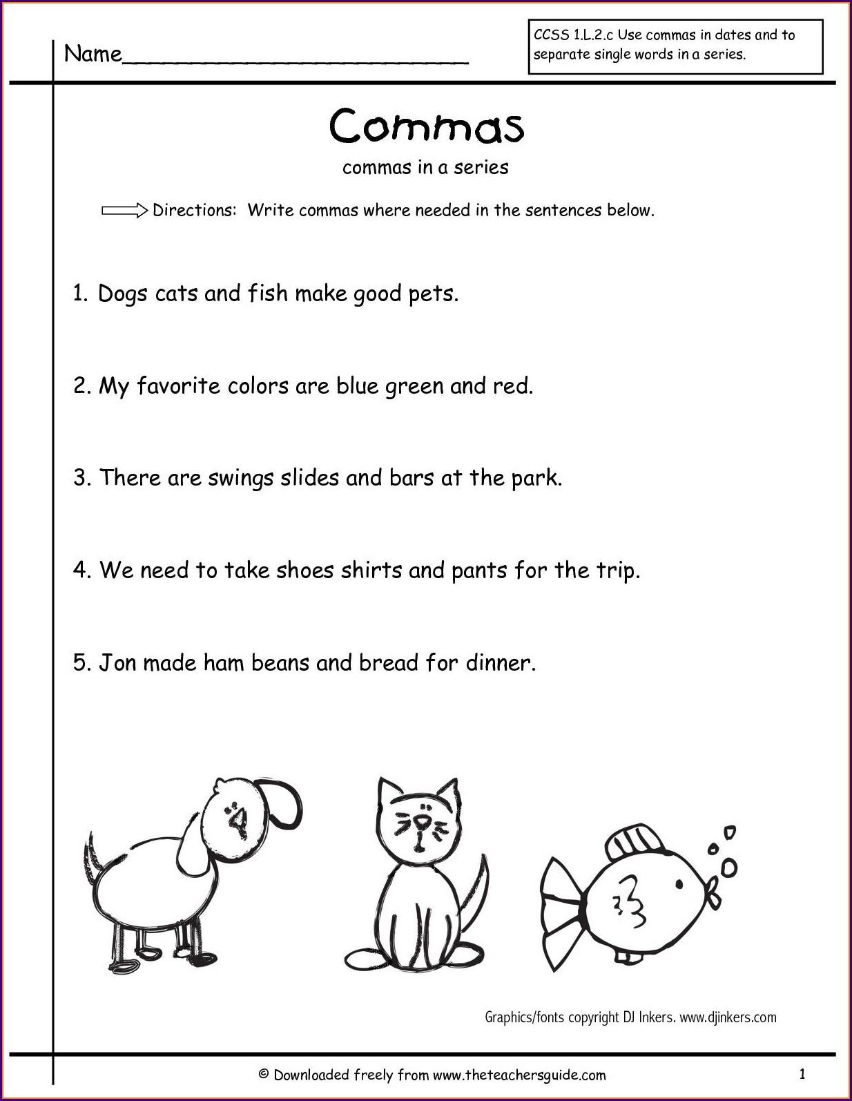 First Grade Worksheets Grammar