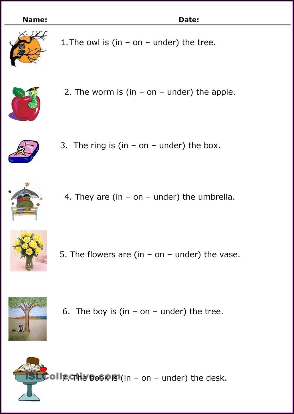 First Grade Worksheets On Prepositions