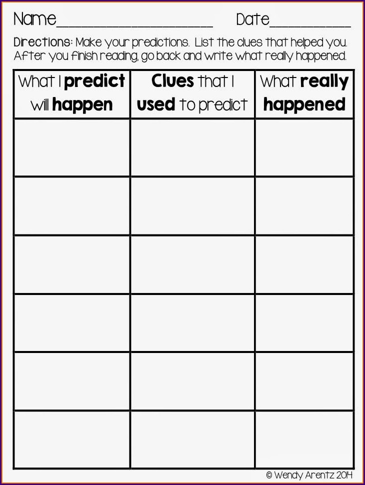 First Grade Worksheets Predicting Outcomes