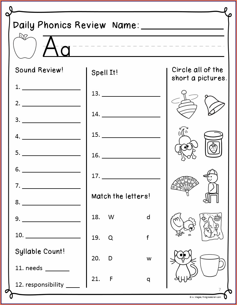 First Grade Worksheets Reading