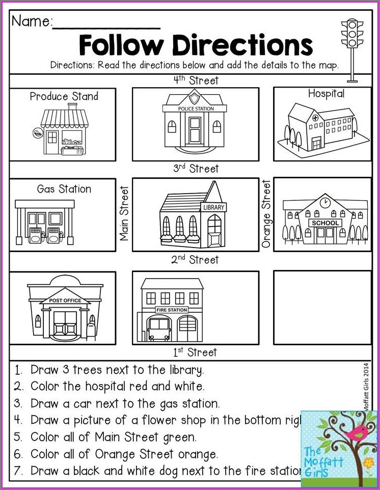 Following Cardinal Directions Worksheet