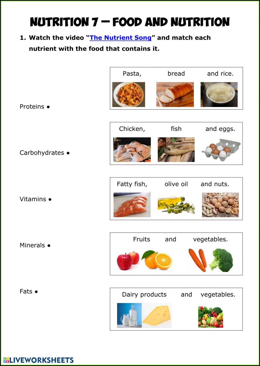 Food And Nutrition Worksheet