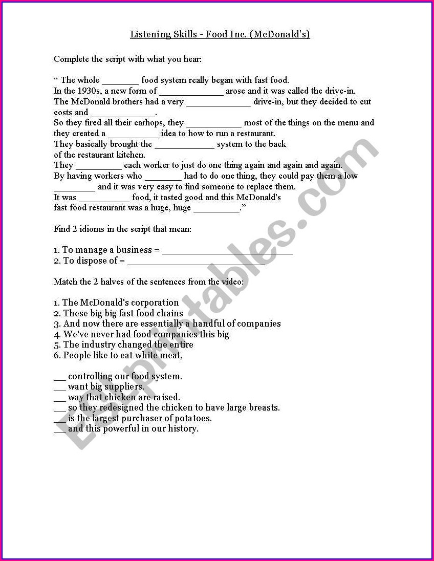 Food Inc Documentary Worksheet