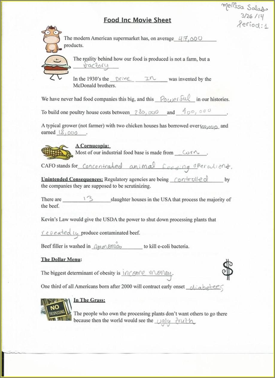 Food Inc Worksheet Answer Key