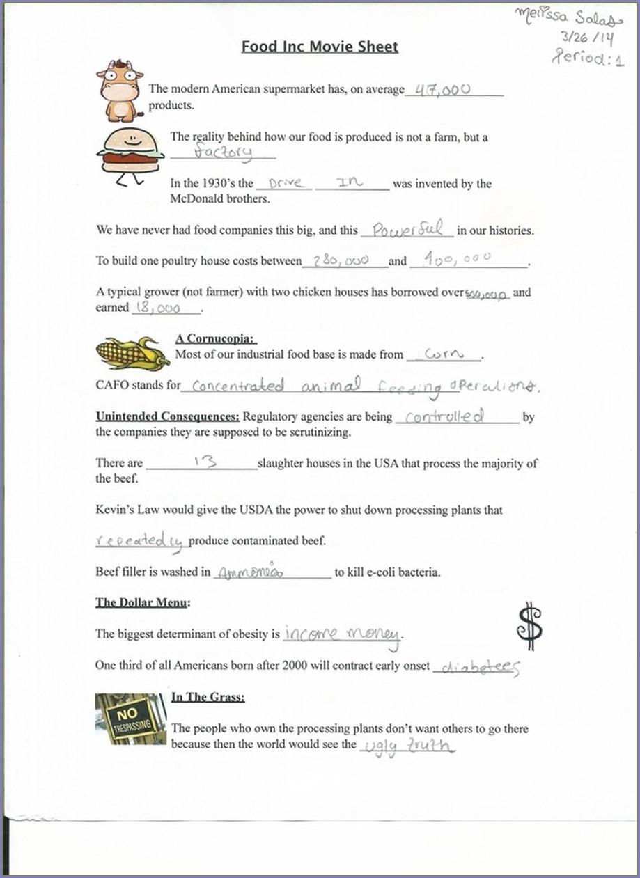 Food Inc Worksheet Quizlet