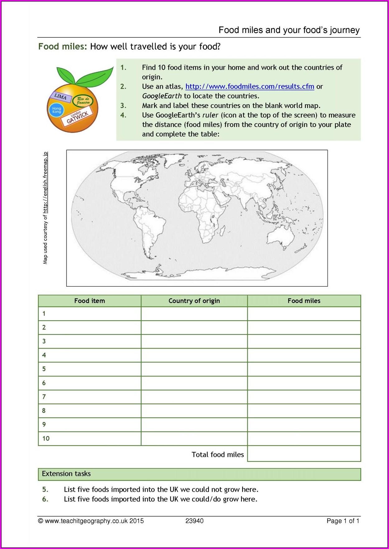 Food Miles Worksheet Ks2