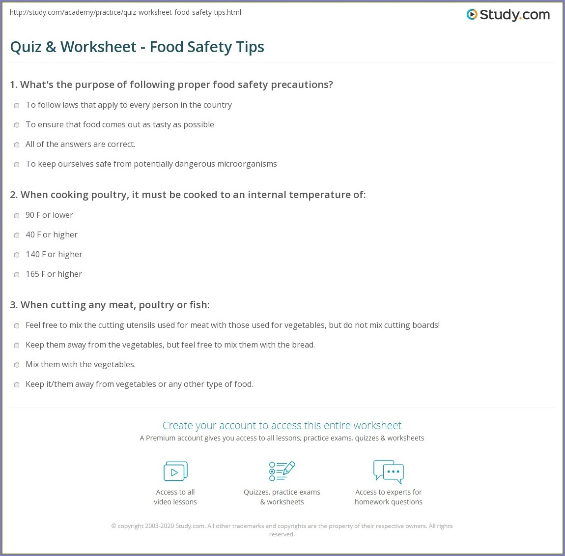 Food Safety Video Worksheet Answers