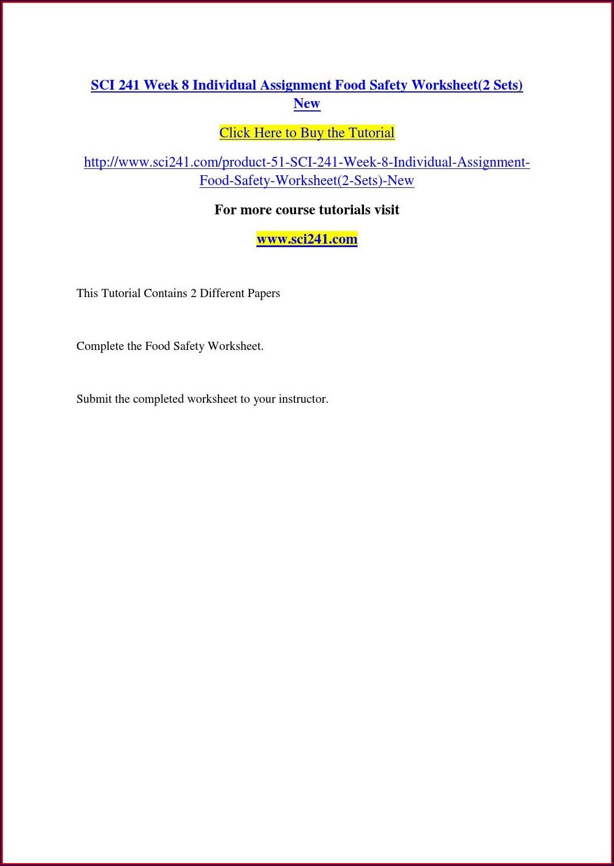 Food Safety Worksheet Sci 241